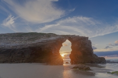 Landscape, sunset, Bay of Biscay, Spain, Playa de Las Catedrales