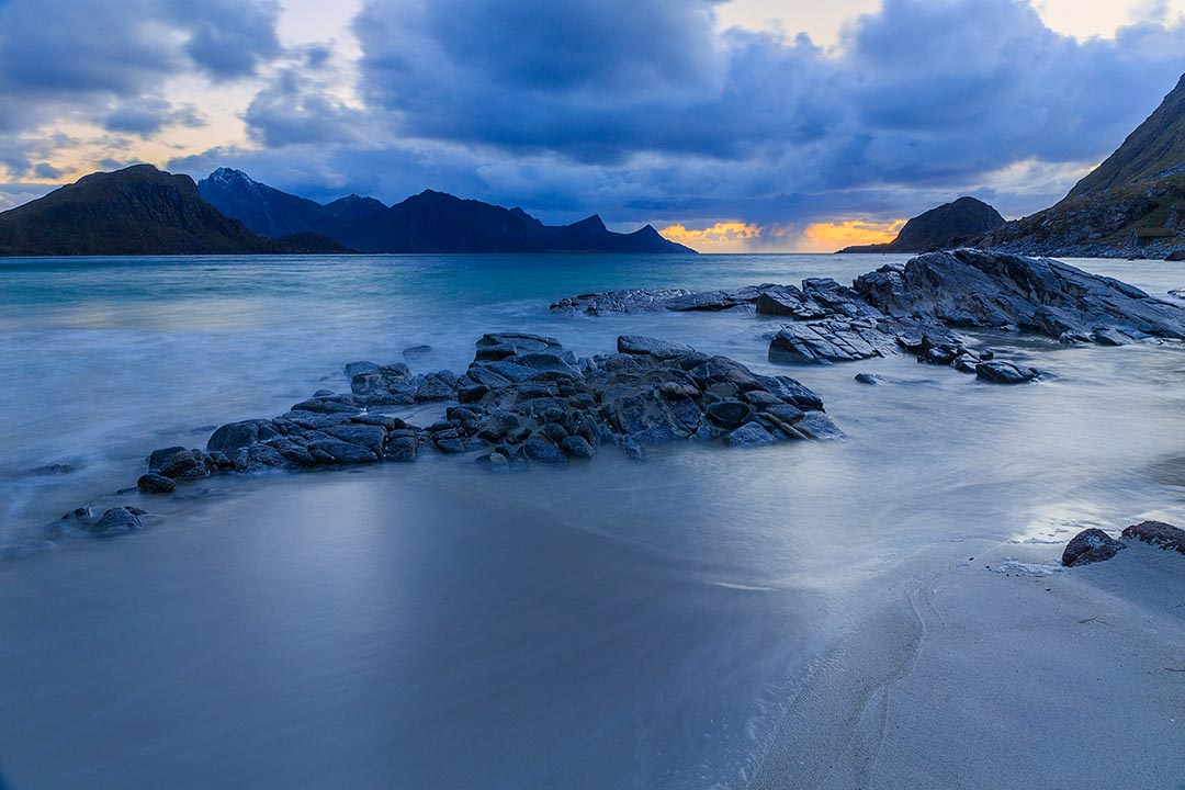Lofoten, Haukland beach in blue