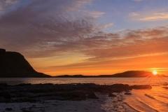 Midnight sun on the beach, Lofoten