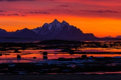 Beautiful sunset on Lofoten