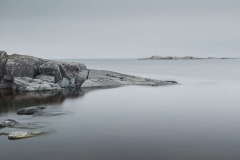 Overcast weather on one of the islands. Ladoga Lake, Russia, Summer