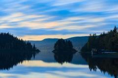 Landscape, twilight on the lake Paanajarvi