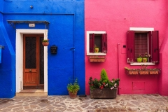 Burano, Venezia, house with blue and pink wall