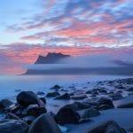 sunrise on Uttakleiv beach
