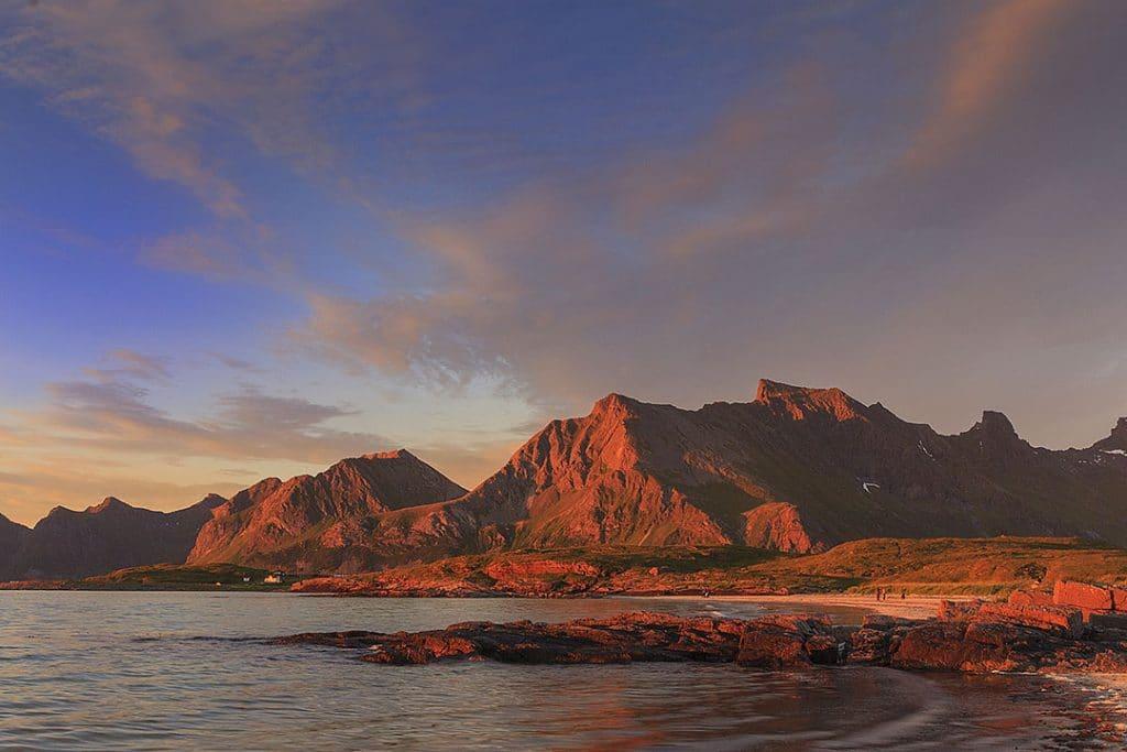 Midnight sun Lofoten Islands