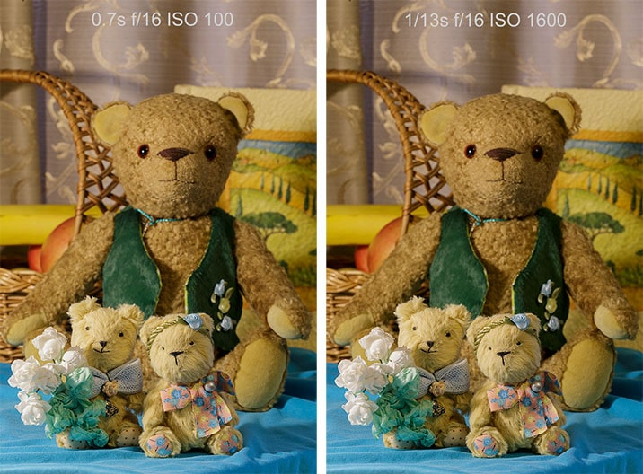 shots with different shutter speed and ISO