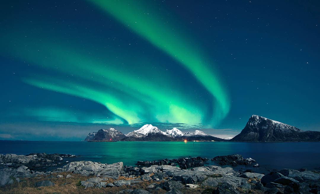 Northern Lights at Lofoten Islands Norway